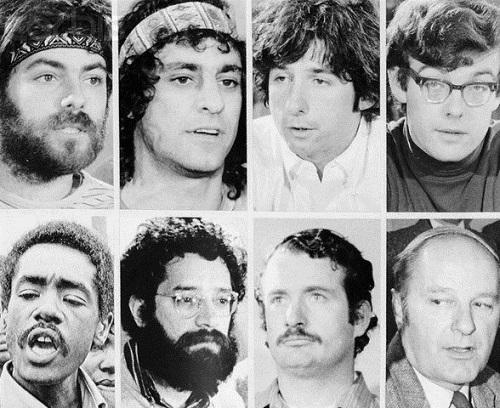 "02 Nov 1969, Chicago, Illinois, USA --- Portraits of the defendants in the ""Chicago 8"" trial for conspiracy to incite violence during the 1968 Democratic Convention. Although found guilty, all conviction in this trial were overturned on appeal. --- Image by © Bettmann/CORBIS"