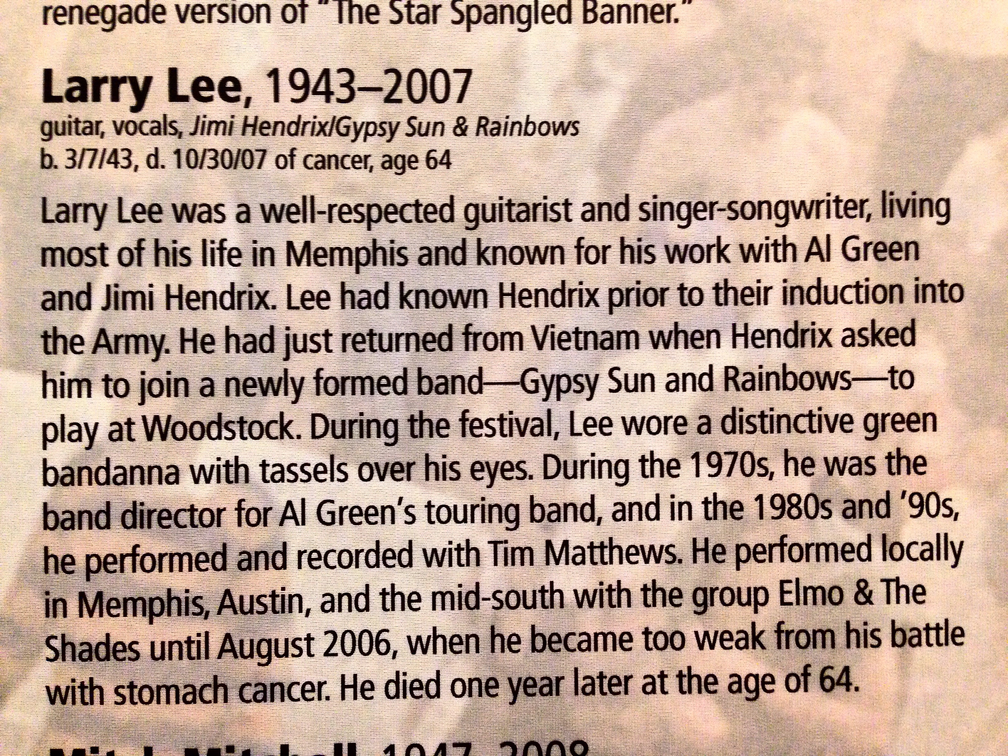 Larry Lee bio from BW wall