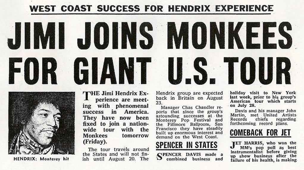 Jimi Hendrix Quits Monkee Tour