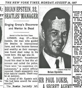 Beatles Brian Epstein Dies 1967