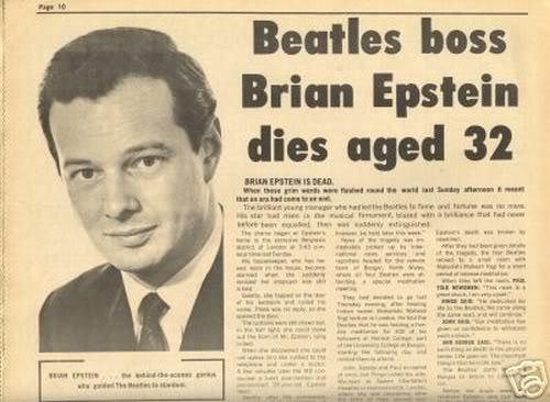 Beatles Brian Epstein Dies