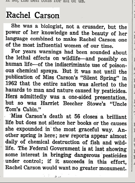 an article on silent spring Smart news keeping you current rachel carson wrote silent spring (partly) because of the author of stuart little the book was a turning point for the environmental movement.