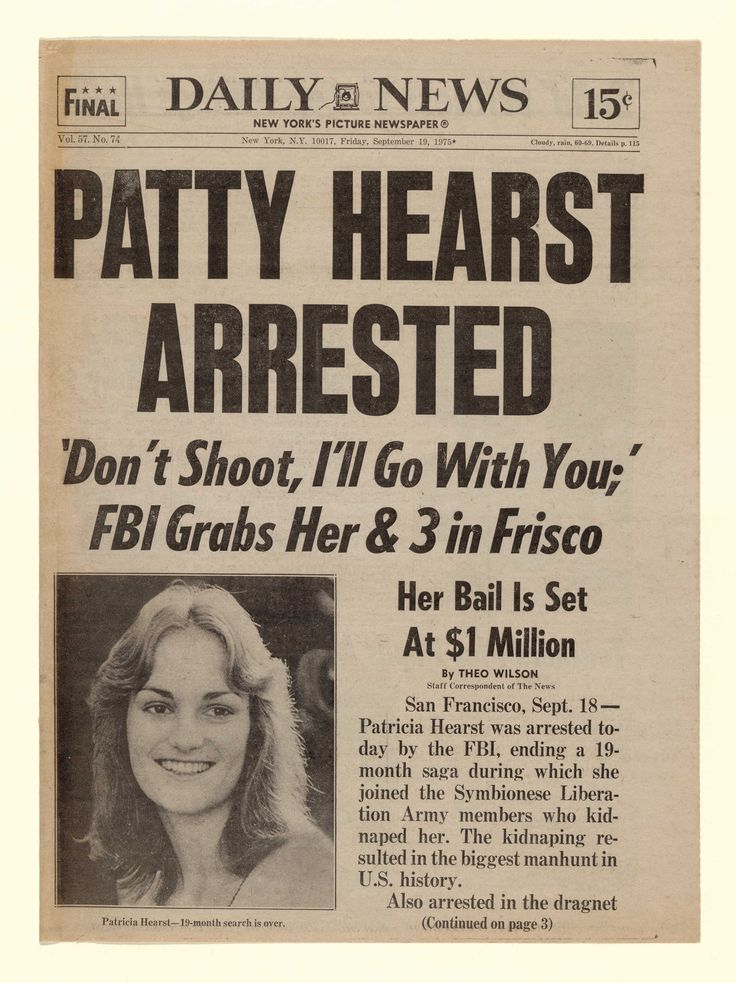 Image result for patty hearst captured