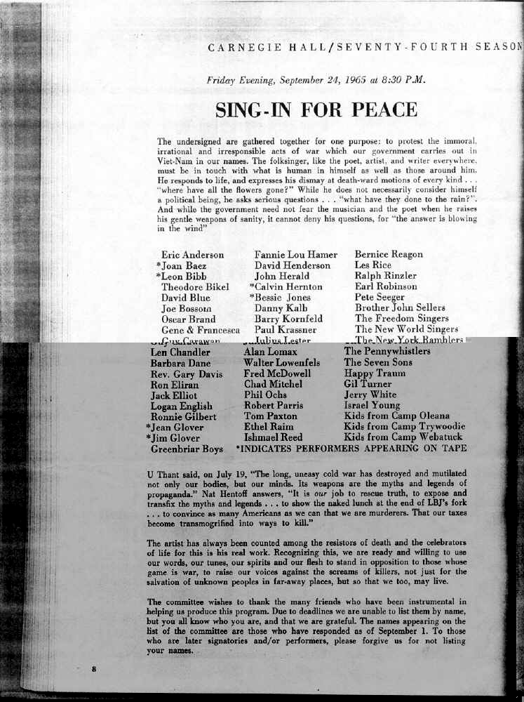 Sing-In For Peace