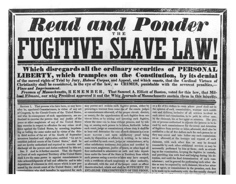 fugitive slave act 1850 essay Fugitive slave act 1850 caitlinn lovett professor jimmy pigg us history 201 16 june 2015 the fugitive slave law of 1850 the fugitive slave law or fugitive slave act was part of a group of laws that are known as the compromise of 1850.