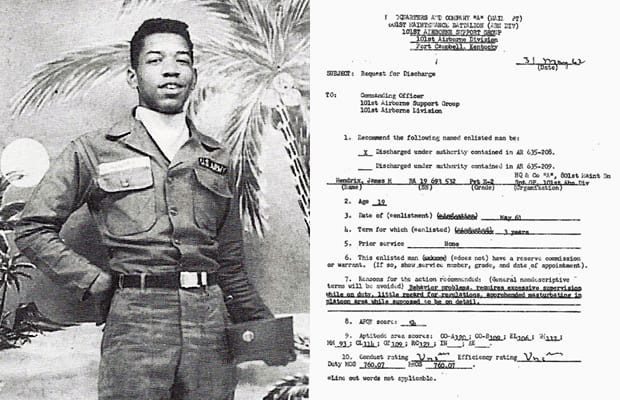 101st Airborne Jimi Hendrix Discharged